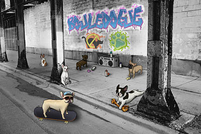 Pups Digital Art - Frenchie Street Gang by Douglas Mahoney
