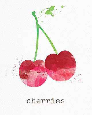 Fruits Mixed Media - Fresh Cherries by Linda Woods