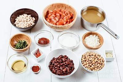 Fresh Food Ingredients On White Wood Kitchen Table Art Print