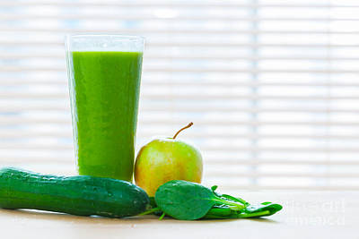 Cucumber Photograph - Fresh Juice From Green Vegetables And Fruits. Healthy Vitamin Drink by Michal Bednarek