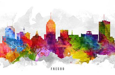 Fresno Painting - Fresno California Cityscape 12 by Aged Pixel