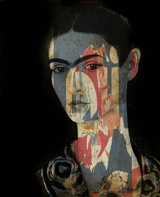 Portrait Mixed Media - Frida Kahlo  by Paul Lovering