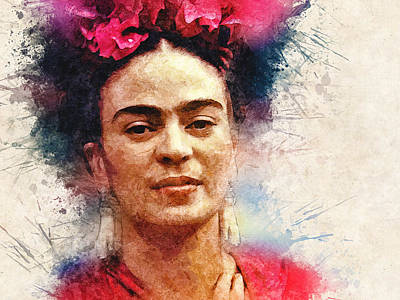 Mexican Digital Art - Frida Kahlo Portrait by Frida Kahlo