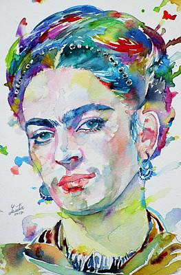 Painting - Frida Kahlo - Watercolor Portrait by Fabrizio Cassetta