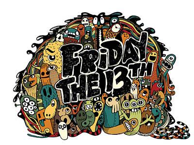Friday 13 Grunge Illustration  Art Print