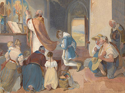 Drawing - Fridolin Assists With The Holy Mass by Peter Fendi