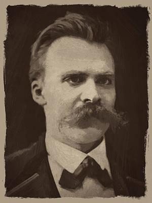 Retro Mixed Media - Friedrich Nietzsche by Afterdarkness