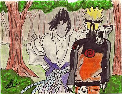 Naruto Drawing - Friends by Seif Seif