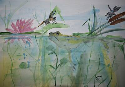 Painting - Frog In The Pond by Susan Voidets