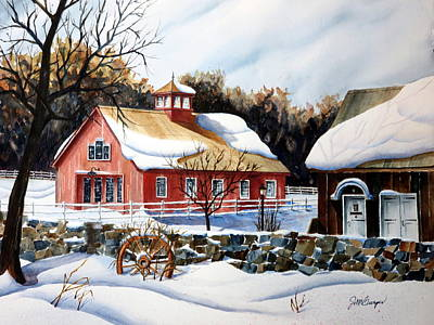 From The Green In Winter Art Print by Joseph Burger