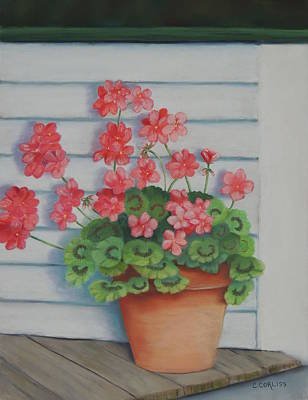 Pastel - Front Porch Geraniums by Carol Corliss