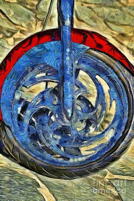 Brand Painting - Front Wheel Of Harley-davidson Chopper by George Atsametakis
