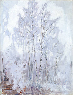 Painting - Frosty Birch Trees  by Celestial Images