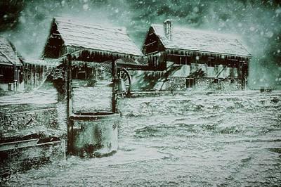 Winter Night Mixed Media - Frozen Farm by Mountain Dreams