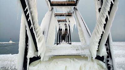 Photograph - Frozen Lighthouse Pier  by Michael Rucker