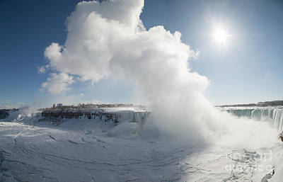 International Border Photograph - Frozen Niagara Falls by Ted Kinsman