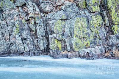 Frozen River And Rocky Cliff Art Print