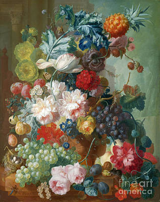 Os Painting - Fruit And Flowers In A Terracotta Vase by Celestial Images