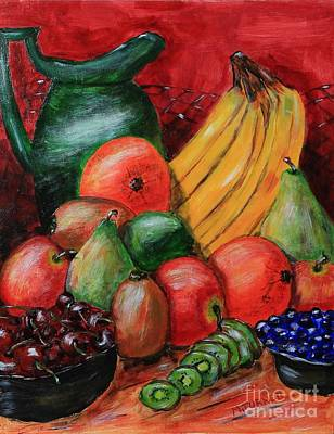 Art Print featuring the painting Fruit And Pitcher by Melvin Turner