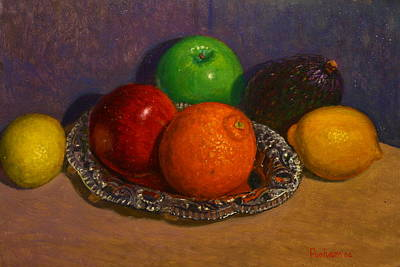 Painting - Fruit On Silver by Terry Perham