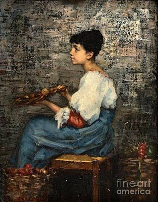 Fruits Painting - Fruit Seller by Celestial Images