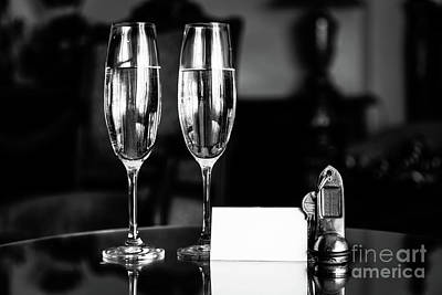 Apartment Photograph - Full Champagne Glasses, Antique Keys And Blank White Card. Luxury Hotel Apartment by Michal Bednarek