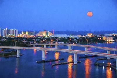 Photograph - Full Moon Over Daytona Beach by Alice Gipson