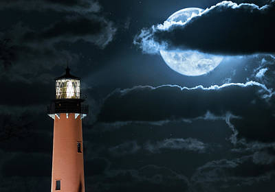 Photograph - Full Moon Over Jupiter Inlet Lighthouse And Museum by Justin Kelefas