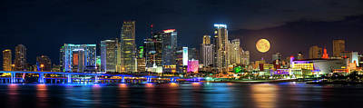 Photograph - Full Moon Over Miami Skyline by Justin Kelefas