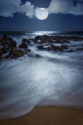 Photograph - Full Moon Rising Over Coral Cove Beach In Jupiter Florida by Justin Kelefas
