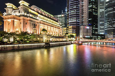 Photograph - Fullerton Hotel And Financial District In Singapore by Didier Marti