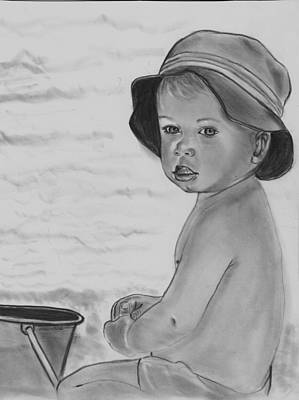 Drawing - Fun In The Sand by Barb Baker