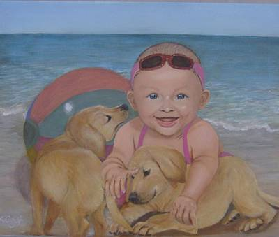 Grandkids Painting - Fun In The Sun by KC Knight