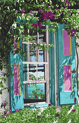 Creole Cottage Wall Art - Painting - Fuscia Bloom by John Canning
