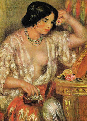 Lady Painting - Gabrielle With Jewelry by Pierre-Auguste Renoir