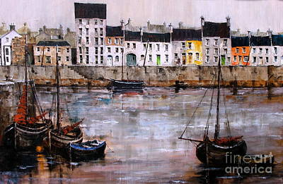 Painting - Ireland Canada Links.. Galway.. Cladagh Harbour  by Val Byrne