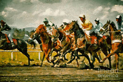 Painting - Gamble Horses Race Horses Galloping by Dimitar Hristov