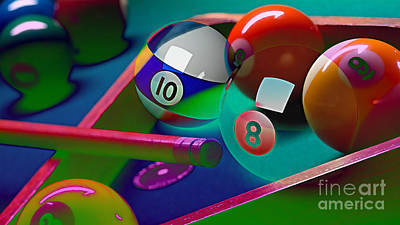 Mixed Media - Game Room Billards by Marvin Blaine