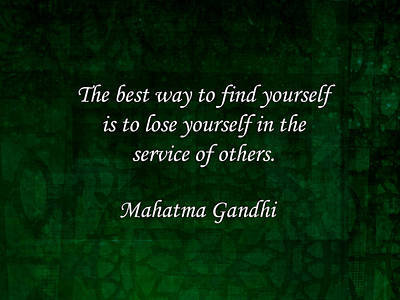 Gandhi Inspirational Quote About Self-help Art Print by Quintus Wolf