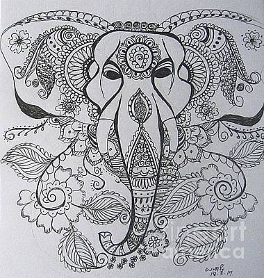 Drawing - Ganesha by Usha Rai