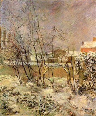 Snowfall Painting - Garden In Snow by Paul Gauguin