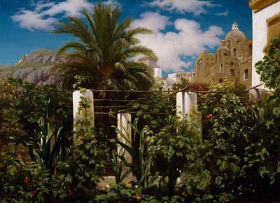 Italian Landscape Painting - Garden Of An Inn, Capri by Frederic Leighton