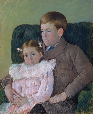 Kid Painting - Gardner And Ellen Mary Cassatt by Mary Cassatt