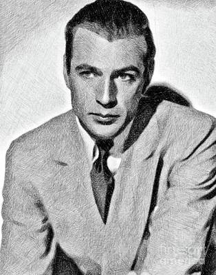 Musicians Drawings Rights Managed Images - Gary Cooper, Vintage Actor by JS Royalty-Free Image by John Springfield