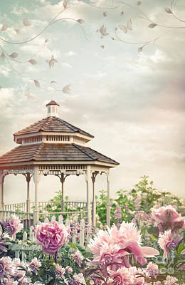 Photograph - Gazebo In Summer Flower Garden by Sandra Cunningham