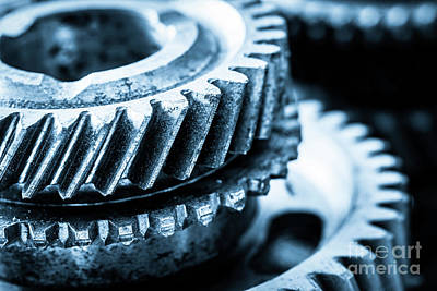 Mechanics Photograph - Gears, Grunge Cogwheels, Real Engine Elements Close-up. Heavy Industry by Michal Bednarek