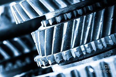Mechanics Photograph - Gears, Grunge Cogwheels, Real Engine Elements Close-up by Michal Bednarek