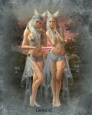 Digital Art - Zodiac Gemini by Ali Oppy