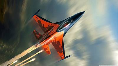 Airplane Digital Art - General Dynamics F-16 Fighting Falcon by Maye Loeser