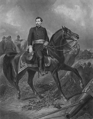 American Civil War Drawing - General George Mcclellan On Horseback by War Is Hell Store